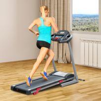 HOMCOM - Tapis de course marche tapis roulant électrique pliable inclinable écran LCD avec MP3 1.75 chevaux gris noir 60