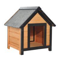 PAWHUT - Niche pour chien en bois sur pied chenil toit double pente bitumé dim. 61L x 56l x 66H cm pin massif pré-huilé marron noir gris
