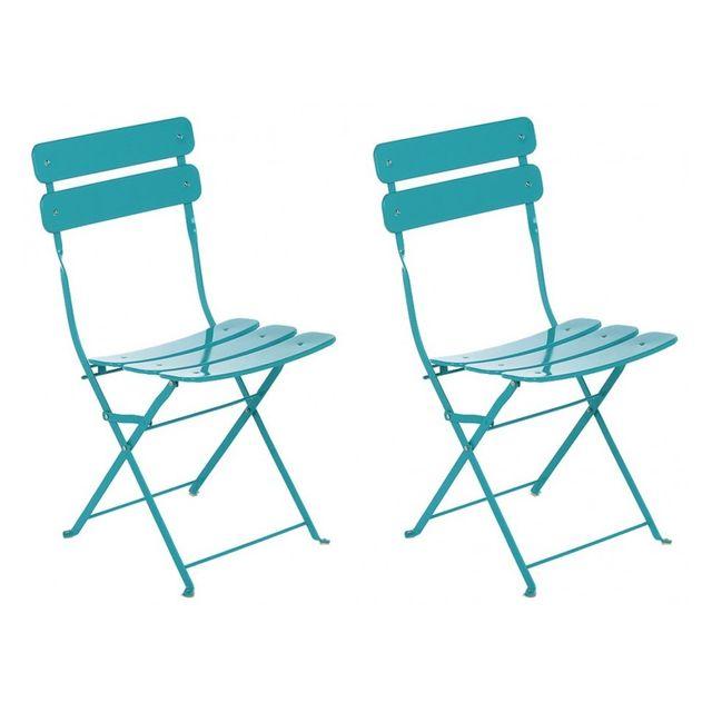 Hespéride Lot de 2 chaises pliantes Sète Bleu lagon pas
