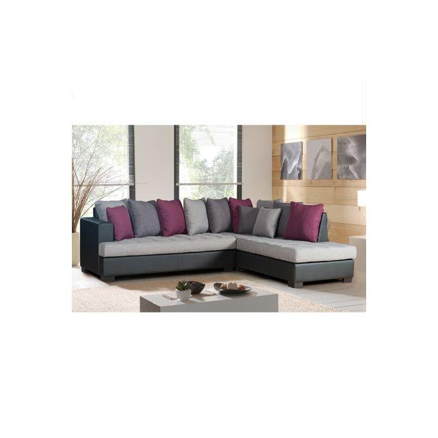 Canapé d'angle à droite gris exotique Paros