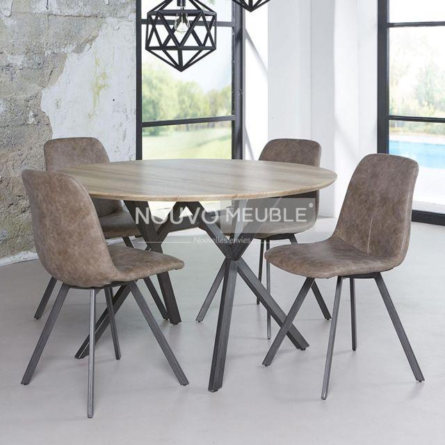Nouvomeuble Table à manger ronde couleur bois Nine