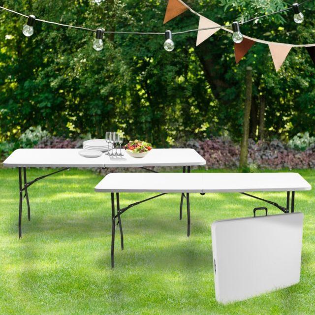 Idmarket Lot de 2 tables pliantes portables pour camping ou réception 180 cm