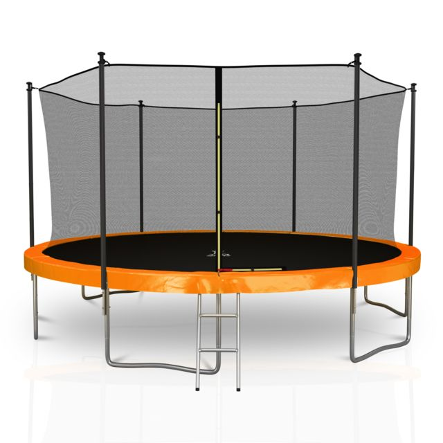 Kaia Sports Trampoline extérieur 14Ft / ø424cm Classique Pack trampoline de jardin avec Filet intérieur, mousse de protection, échel