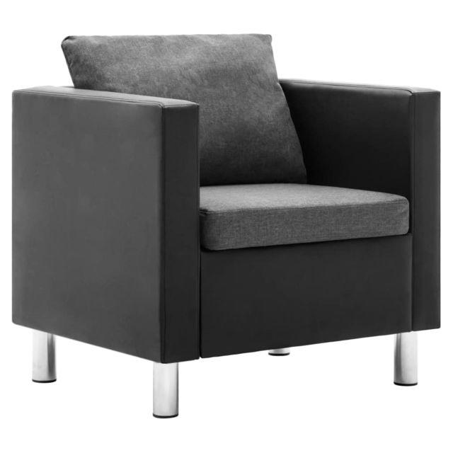 Vidaxl Fauteuil Similicuir Noir Gris Clair - Fauteuils - Fauteuils club, fauteuils inclinables et chauffeuses lits | Noir | Noi