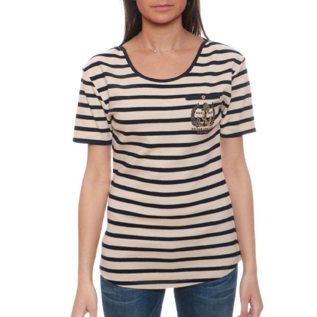 6e384b2c89c4 Geographical Norway - Tshirt Femme Jultraviolet Blanc Cassé - pas ...