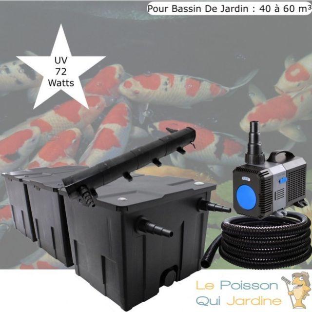 Le Poisson Qui Jardine Kit de Filtration, Uv 72 W, Pour Bassin De Jardin : 40 à 60 m Option : Pack Bactéries & Activateur Biologique - Sans Pac