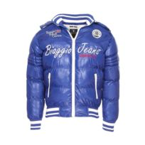 Biaggio - Doudoune à capuche amovible bleu électrique brodée