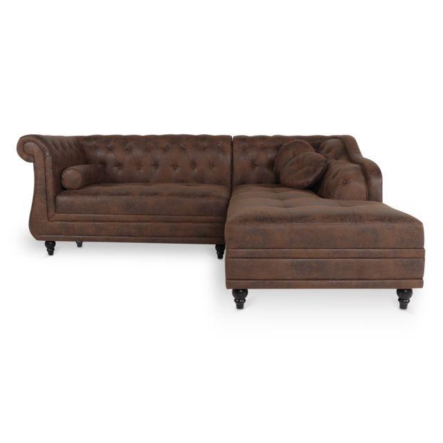 Canapé d'angle droit Empire Vintage style Chesterfield