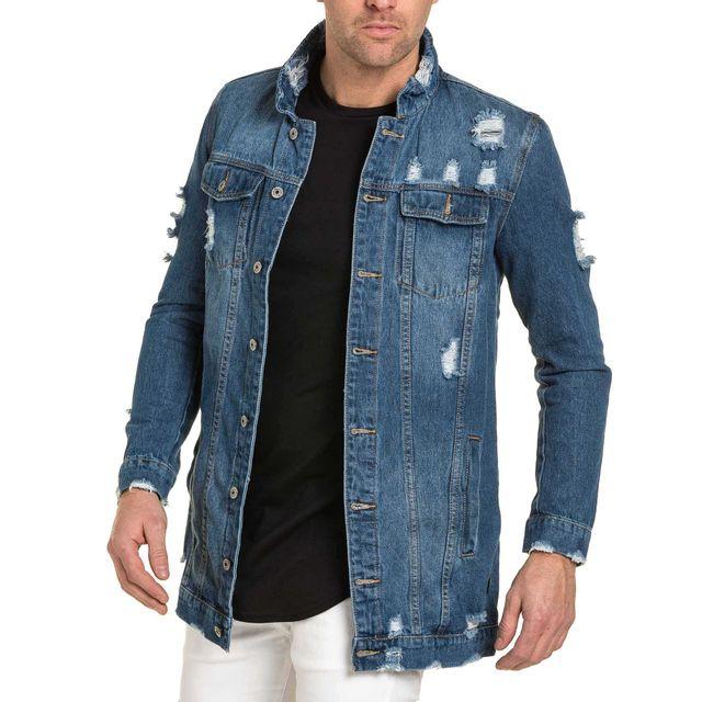 project x veste en jean destroy homme oversize bleu l. Black Bedroom Furniture Sets. Home Design Ideas