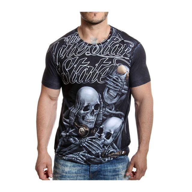 Cipobaxx - Cipo and Baxx - T-shirt State noir imprimé têtes de mort ... 18a16fd0cd