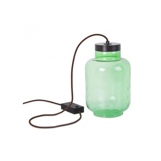 Leds C4 - Lampe à poser en verre Raw Led H29 cm - Vert 19cm x 29cm x 19cm