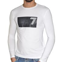 Armani - Jeans - Tee Shirt Ml - Homme - A5h49 Big Rectangle - Blanc