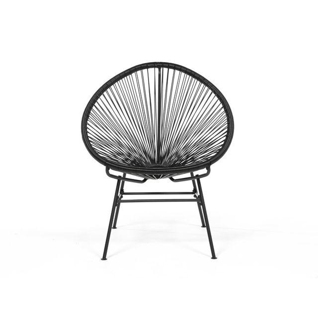dlm fauteuil bas 4 pieds en fil de r sine et acier noir acapulco pas cher achat vente. Black Bedroom Furniture Sets. Home Design Ideas