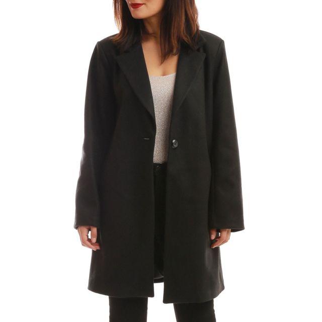 Manteau long noir pas cher