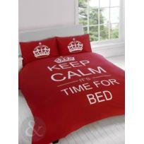 Just Contempo - Parure De Lit Motif Keep Calm It'S Time For Bed, Poly Coton, Rouge, Single Quilt Cover