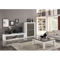 Modern salon - Bar Venezzia 4 portes battantes laqué blanc/gris