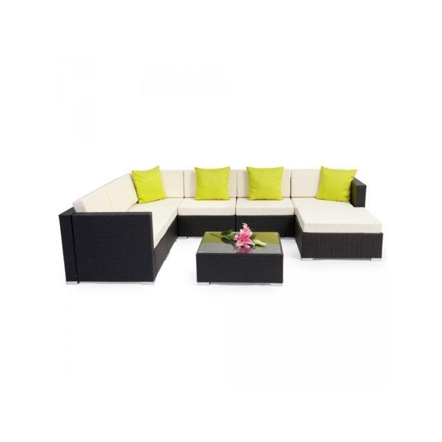 HELLOSHOP26 Salon de jardin rotin résine tressé synthétique noir marron 8 pièces 2108037