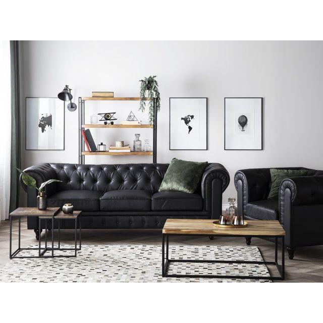 BELIANI Canapé 3 places en simili-cuir noir CHESTERFIELD BIG - noir