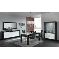 Modern salon - Vitrine 2 portes battantes + 2 portes vitrées Modena laqué Noir/blanc
