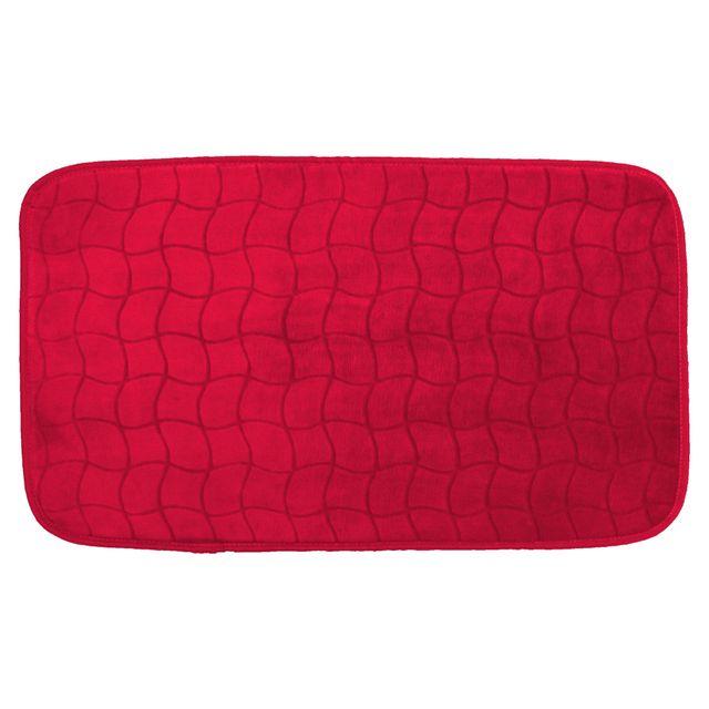 Linge Des Domes Cdaffaires Tapis rectangle 50 x 80 cm velours uni tomette Rouge