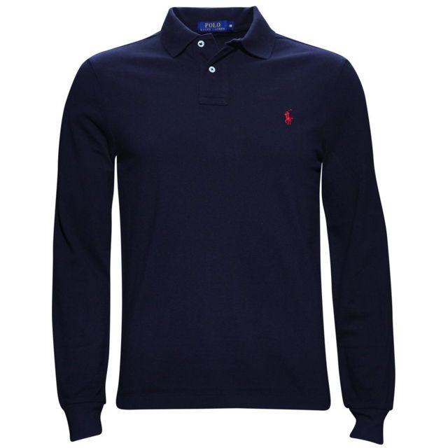 dcfdb3a1459f Ralph Lauren - Polo slim fit bleu marine - pas cher Achat   Vente Tee shirt  homme - RueDuCommerce