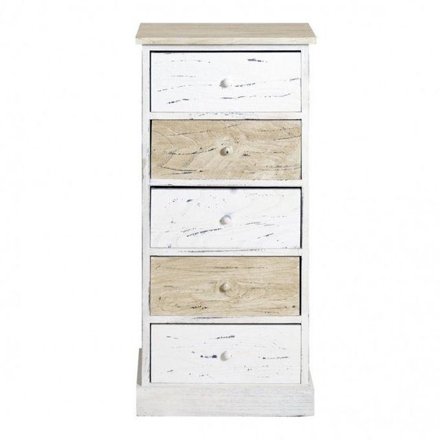 Mobili rebecca commode meuble de rangement 5 tiroirs bois for Meuble commode tiroirs