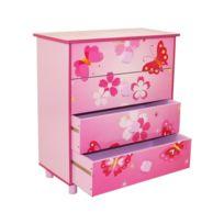 Commode 4 tiroirs chambre enfant motif papillon rose 60x67x30cm Ape06020