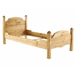 couleurs des alpes lit une personne avec t te de lit pin massif teint cir 90x190cm edelweiss. Black Bedroom Furniture Sets. Home Design Ideas