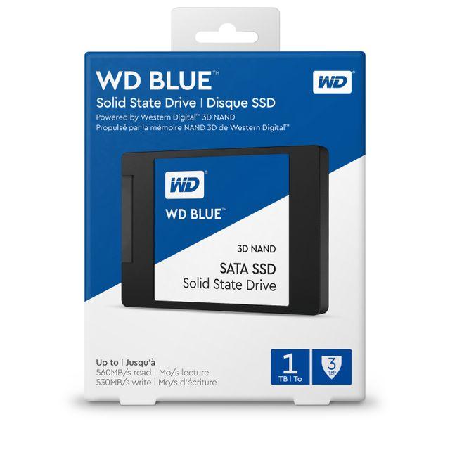 WESTERN DIGITAL SSD interne 2,5 WD BLUE 500 Go SATA III NAND 3D Le SSD SATA NAND 3D WD Blue™ tire parti de la technologie NAND 3D de Western Digital pour offrir une capacité maximale de 2 To avec une fiabilité accrue.