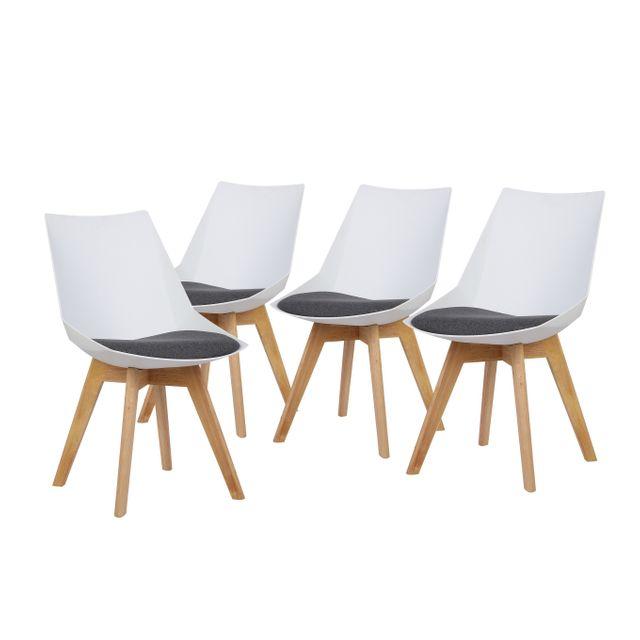 Bobochic luma lot de 4 chaises design scandinave for Chaise zenata
