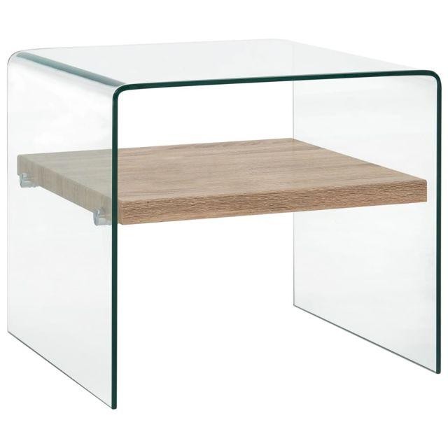 Vidaxl Table Basse Clair 50x50x45 cm Verre Trempé Table d'Appoint Salon Maison