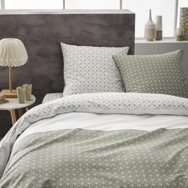 matt rose parure de lit taie rectangulaire en coton imprim kaki pas cher achat vente. Black Bedroom Furniture Sets. Home Design Ideas