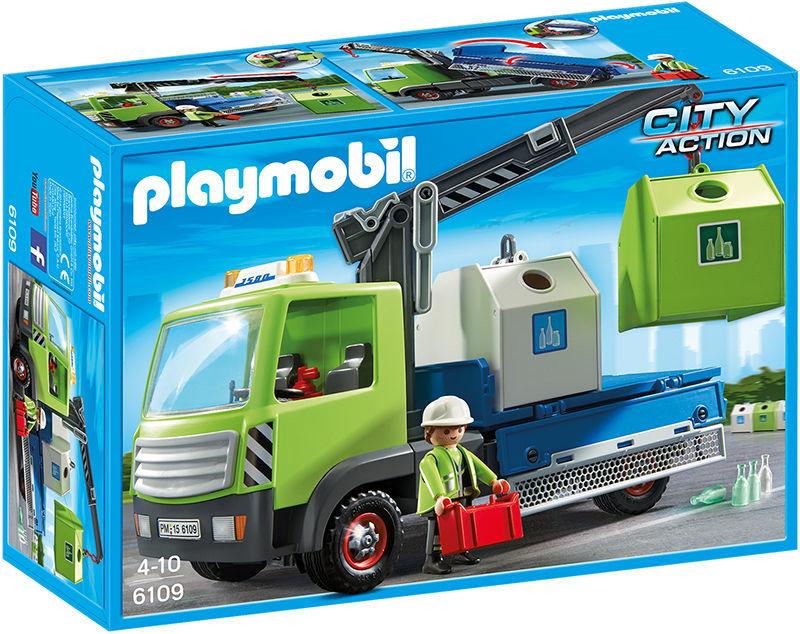 Camion avec grue et conteneurs à verre - 6109