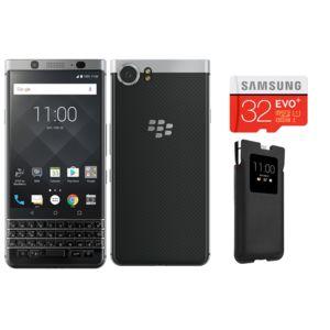 BLACKBERRY - KEYone - Argent + Smart Pocket KEYone - Noir + Micro SDHC EVO Plus 32 Go + Adaptateur SD