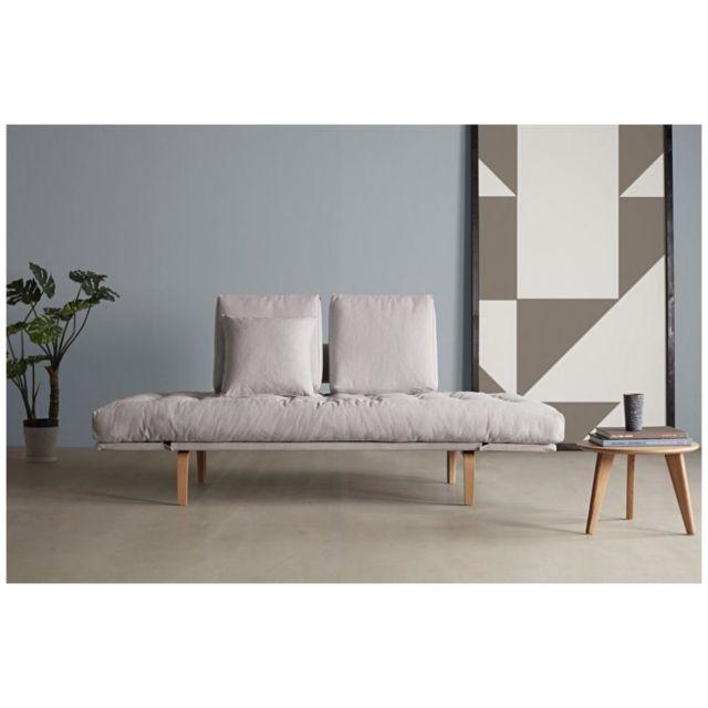 INSIDE 75 Canapé design ROLLO BOW convertible pieds chêne tissu Elegance Light Grey