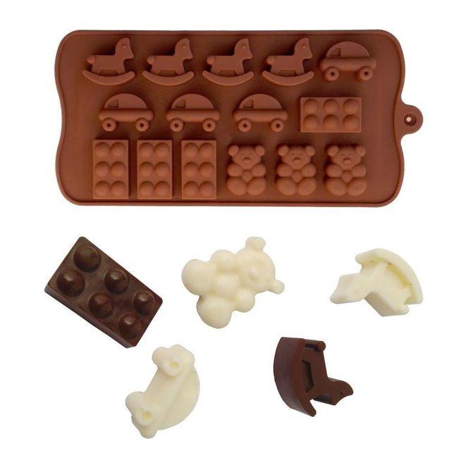 Yonis Plaque de 15 moules silicone patisserie originaux marron cuisine
