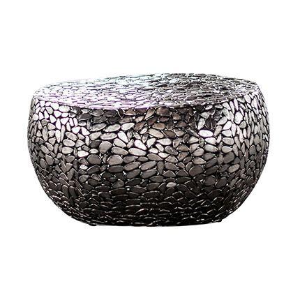 Table de salon en caillou en acier