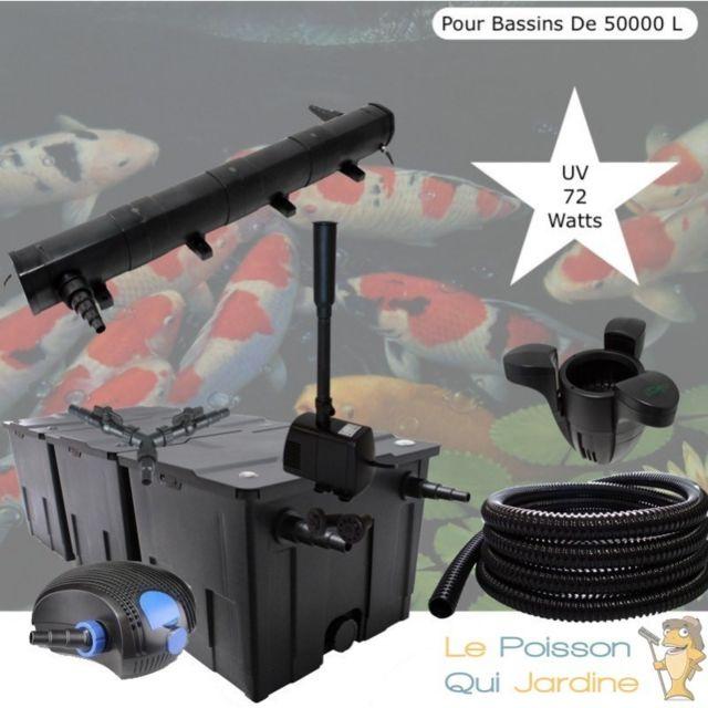 Le Poisson Qui Jardine Kit Filtration Complet, Uv 72W + Écumeur Et Fontaine Pour Bassin De 50000 L