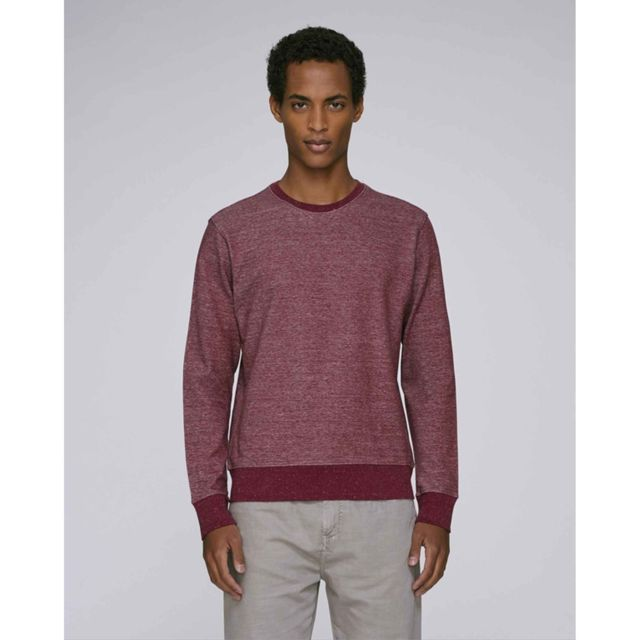 Made In Bio Sweat homme coton bio col rond bordeaux chiné L - Chicama