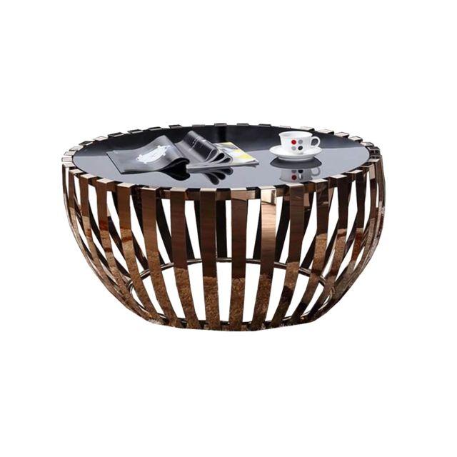 La Maison Du CanapÉ Table basse verre et acier Trendy - Noir/Doré - Doré