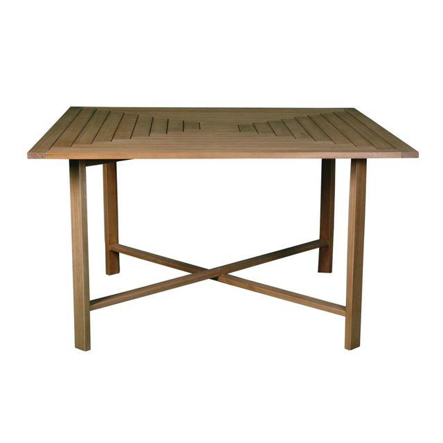 Akhal - Table carrée de jardin pliante en acacia Fsc longueur 130cm ...