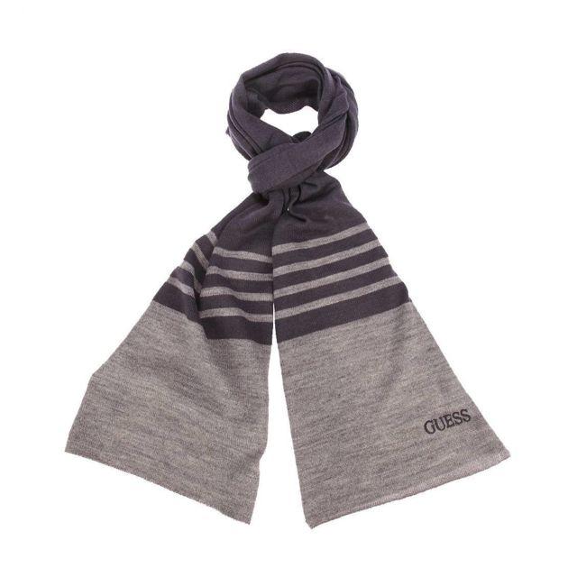 31d21fac493 Guess - Echarpe en laine mélangée bleu marine à rayures gris foncé chiné  brodé - pas cher Achat   Vente Echarpes