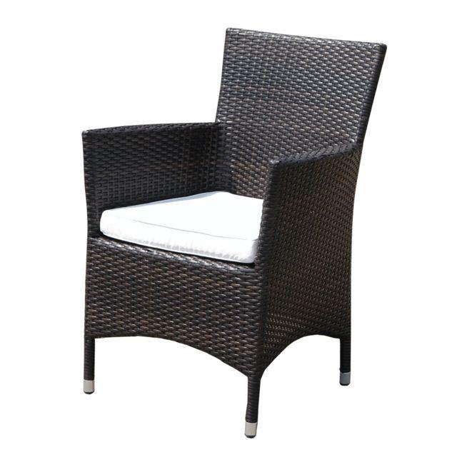 BELIANI Chaise de jardin en rotin et coussins blancs cassés ITALY