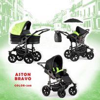 Autre - Poussette trio Aston Bravo noir vert châssis silver roue carrera chrome