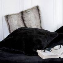Comptoir Des Toiles - Coussin fausse fourrure noir 40x40cm Sweet Home