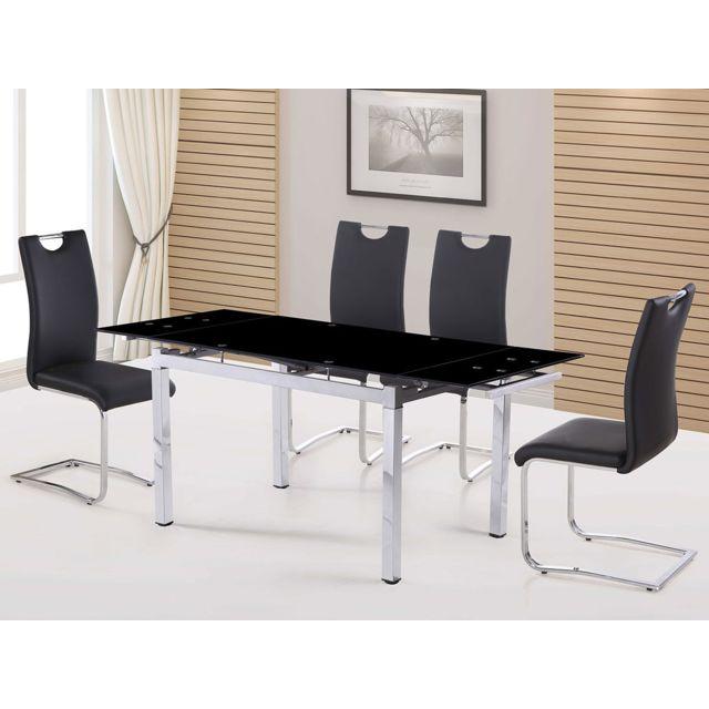 HABITAT ET JARDIN Table repas extensible Sterna en verre - 120-180 x 80 x 75 cm