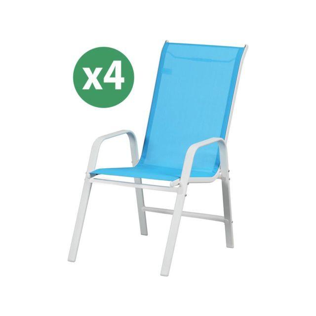 HABITAT ET JARDIN - Fauteuil jardin Textilène Cordoba - Phoenix - Bleu - Lot  de 4 5c946eaf2ea0