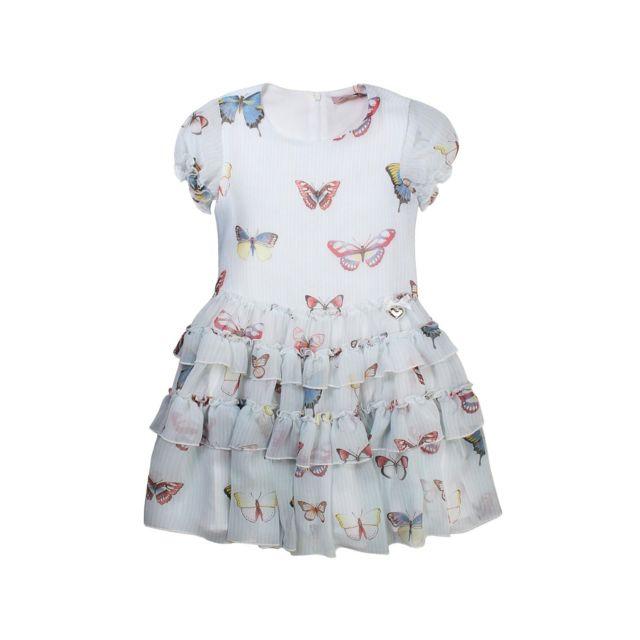 7873f9ce3004c Miss Blumarine - Robe à papillons fille - blanc - pas cher Achat   Vente  Robe enfant - RueDuCommerce