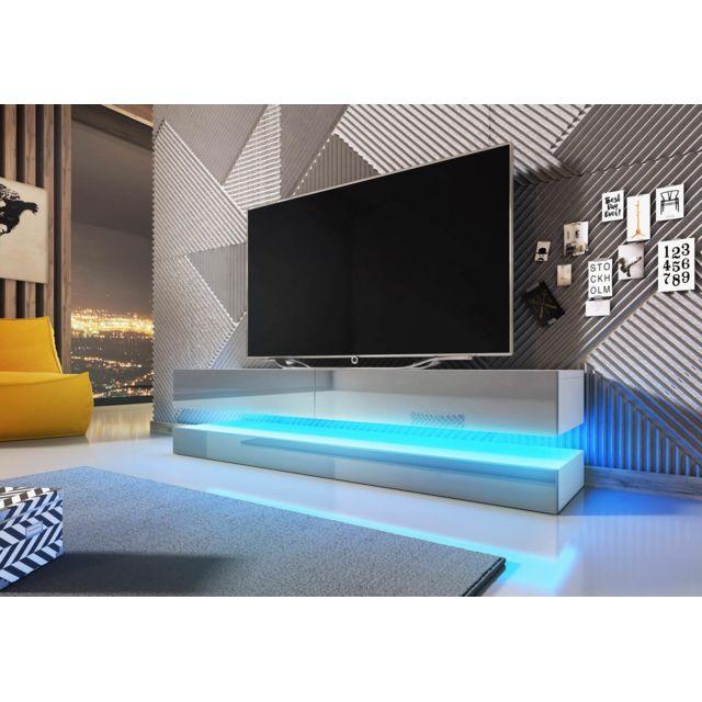 Vivaldi Meuble Tv Design Fly blanc mat avec gris brillant. Eclairage à la Led bleue