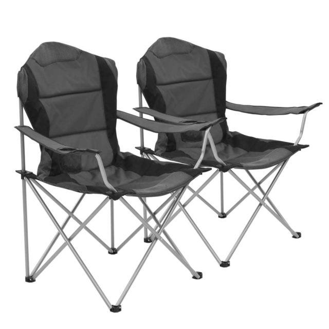 Chaise pliante de camping 2 pcs 96 x 60 x 102 cm Gris Camping et randonnée Matériel de camping   Gris   Gris